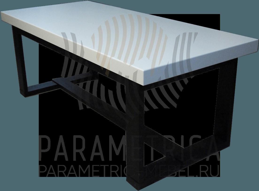 Стол из массива бука в белой эмали